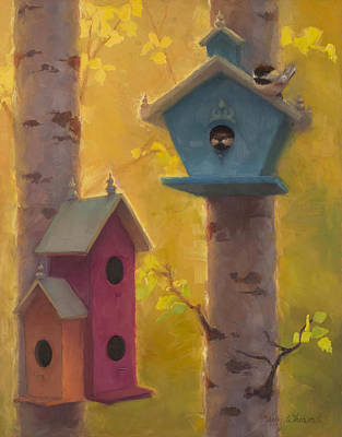 Chickadee Painting - Spring Chickadees 2 - Birdhouse And Birch Forest by Karen Whitworth