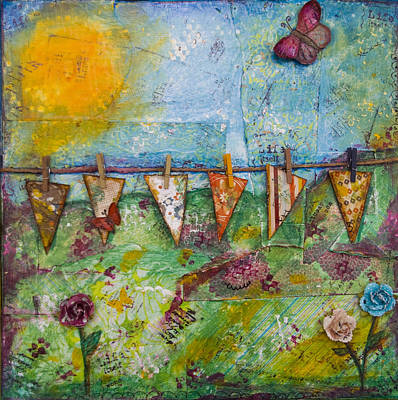 Bunting Mixed Media - Spring by flossyBfree