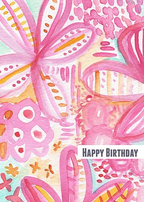Party Card Mixed Media - Spring Flowers Birthday Card by Linda Woods