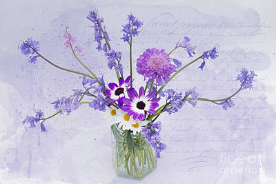 Spring Flowers In A Jam Jar Print by Ann Garrett