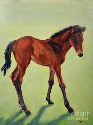 Horse Painting - Spring Green by Patricia A Griffin