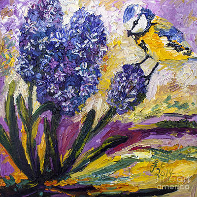 Titmouse Painting - Spring Hyacinth And Titmouse Songbird by Ginette Callaway