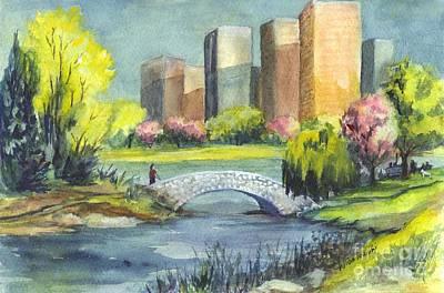 Spring  In Central Park N Y C  Print by Carol Wisniewski