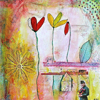 Leaf Stencil Mixed Media - Spring In His Home Town by Bellesouth Studio