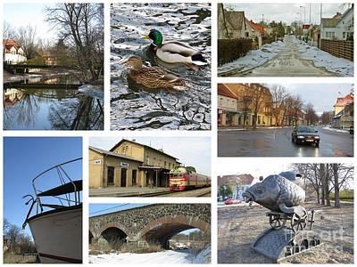Spring In Silute. Lithuania. Collage 04 Print by Ausra Huntington nee Paulauskaite