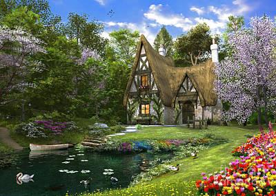 Swans.. Digital Art - Spring Lake Cottage by Dominic Davison