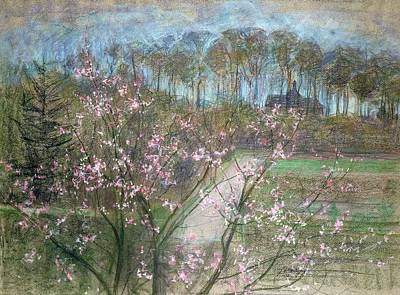 Cherry Drawing - Spring Landscape by Jenny Montigny
