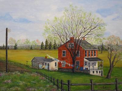 Laundry Painting - Spring Laundry Day by Leda Rabenold