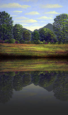 Spring Meadow At Sutter Buttes Reflection Print by Frank Wilson