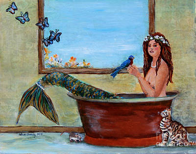 Striped Butterfly Painting - Spring Mermaid by Linda Queally