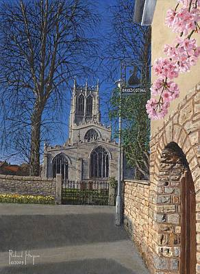 Cherry Blossoms Painting - Spring Morning Brides Cottage Tickhill Yorkshire by Richard Harpum