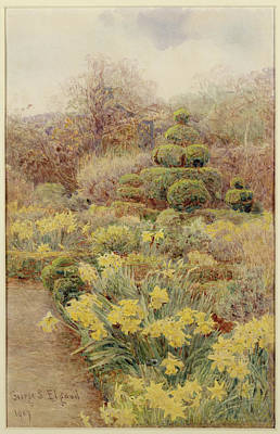 1907 Drawing - Spring   Raunds Cliffe by George Samuel Elgood