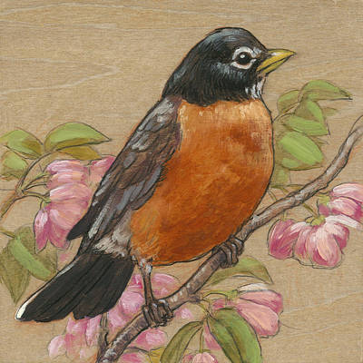 Robin Mixed Media - Spring Robin 3 by Tracie Thompson