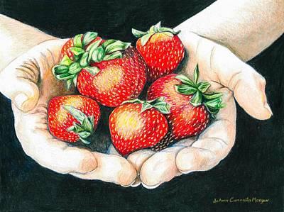 Strawberry Drawing - Spring Strawberries by JoAnn   Morgan