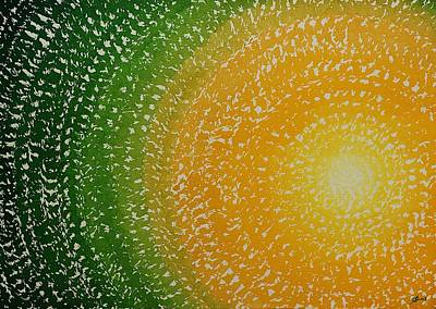 Watercolor With Pen Painting - Spring Sun Original Painting by Sol Luckman