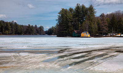 Winter Scenes Photograph - Spring Thaw On Old Forge Pond In The Adirondack Mountains by David Patterson