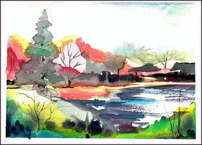 Cherry Trees Drawing - Spring Time On The Farm by Mindy Newman