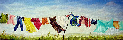 Laundry Painting - Spring Wash by Anna-Maria Dickinson