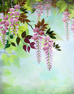 Bedros Mixed Media - Spring Wisteria by Bedros Awak