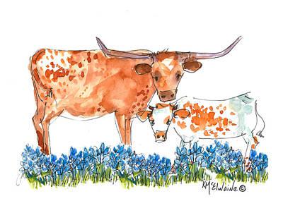 Springs Surprise Longhorns Print by Kathleen McElwaine