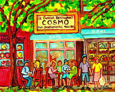 Montreal Restaurants Painting - Springtime Brunch Famous Cosmos Snack Bar Rue Sherbrooke Bistro Cafe Paintings Montreal Streets  by Carole Spandau