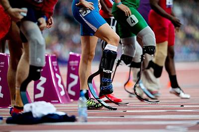 Sprinters At Start Of Paralympics 100m Print by Science Photo Library