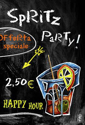Spritz Party Happy Hour - Aperitif Venice Italy Print by Arte Venezia