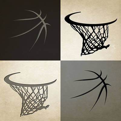 Spurs Ball And Hoop Print by Joe Hamilton