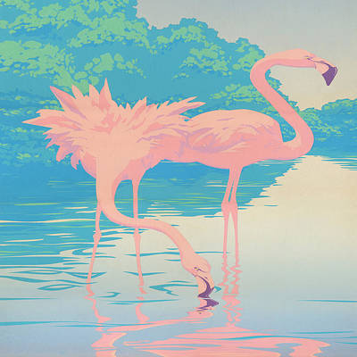 Square Format - Pink Flamingos Retro Pop Art Nouveau Tropical Bird 80s 1980s Florida Painting Print Print by Walt Curlee