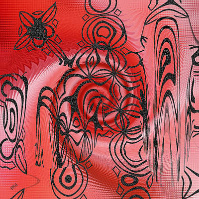 Square In Red With Black Drawing No 1 Print by Ben and Raisa Gertsberg