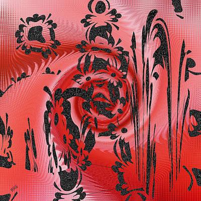 Digital Fine Art Digital Art - Square In Red With Black Drawing No 2 by Ben and Raisa Gertsberg