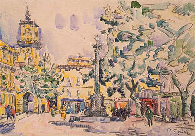 Square Of The Hotel De Ville Print by Paul Signac