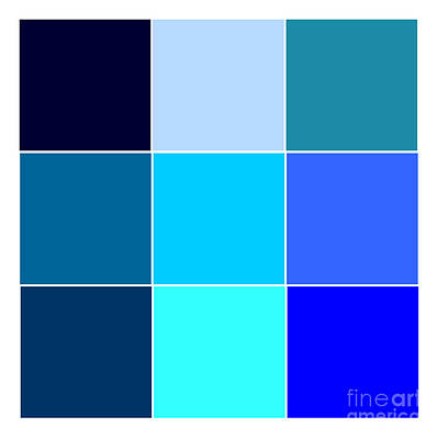 Shape Digital Art - Squares - Blue by Celestial Images