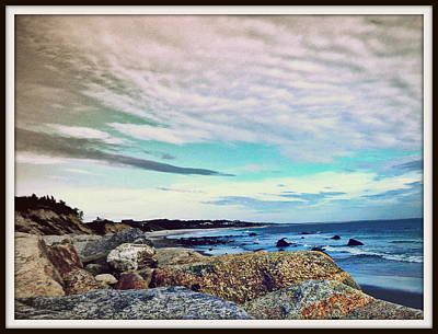 Squibby Cliffs And Mackerel Sky Print by Kathy Barney