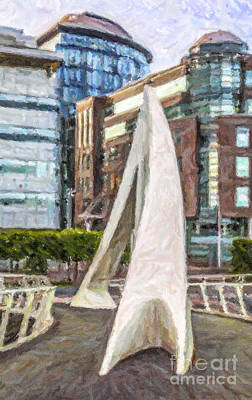 Architecture Digital Art - Squiggly Bridge Glasgow by Liz Leyden