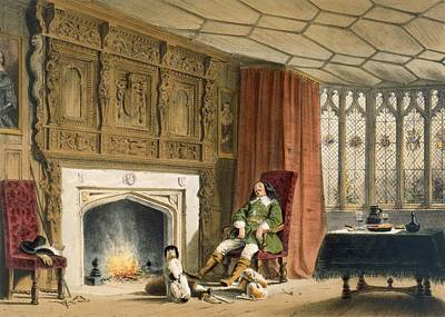 Squire With His Dogs By The Hearth Print by Joseph Nash