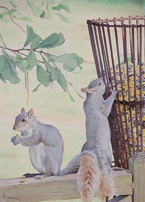 Squirrel Painting - Squirrel Feeder by Christopher Reid