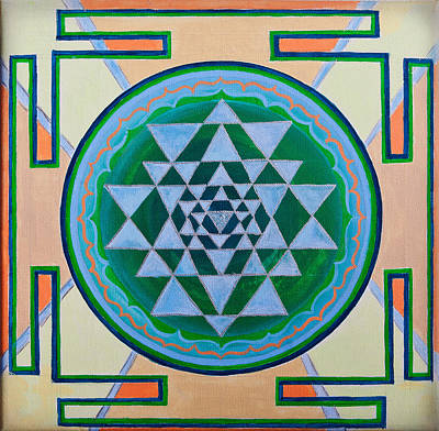 Mandala Photograph - Sri Yantra For Meditation Painted by Raimond Klavins