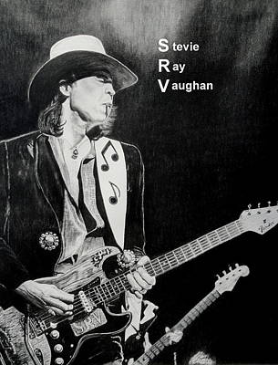 Stevie Ray Vaughan Drawing - SRV by Charles Rogers