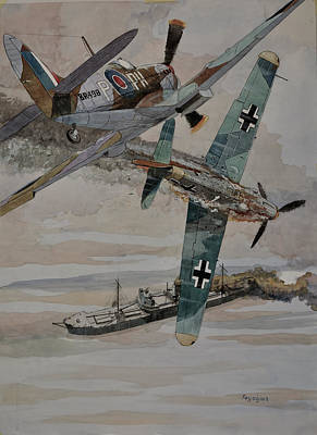 Raf Painting - Ss Rochester Castle by Ray Agius