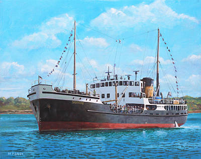 Steam Ships Painting - Ss Shieldhall On A Cruise In The Solent by Martin Davey