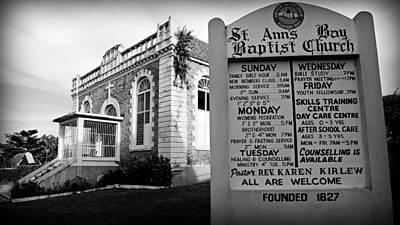 Abolition Photograph - St. Ann's Bay Baptist Church With Sign by Stephen Stookey