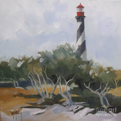 St Augustine Lighthouse First Light Original by Mary Hubley