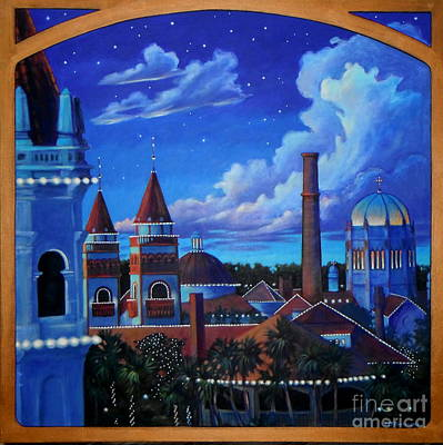 St Augustine Nights Of Lights Print by Teri Tompkins