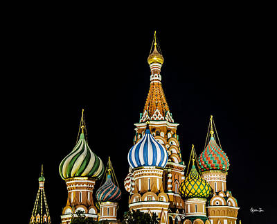 St Basils Photograph - St. Basil's Cathedral At Night by Madeline Ellis