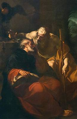 Benedict Painting - St. Benedict And A Hermit by Domenico Maria Viani