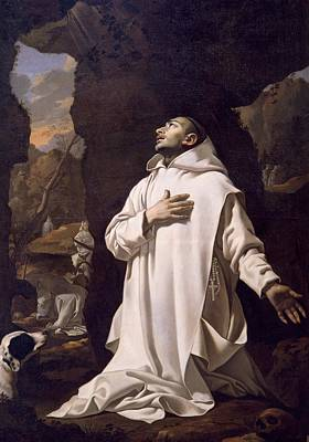 St Bruno Praying In Desert Print by Nicolas Mignard