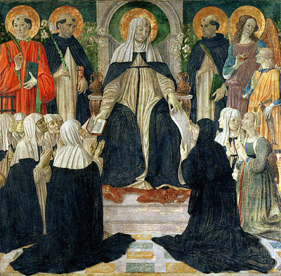 St. Catherine Of Siena As The Spiritual Mother Of The 2nd And 3rd Orders Of St. Dominic Print by Cosimo Rosselli