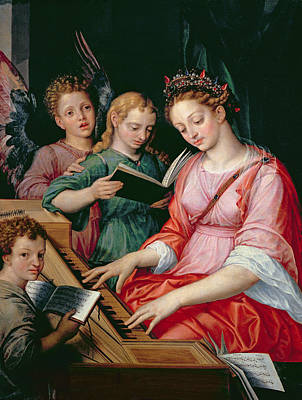 Saint Cecilia Accompanied By Three Angels Print by Michiel I Coxie or Coxcie