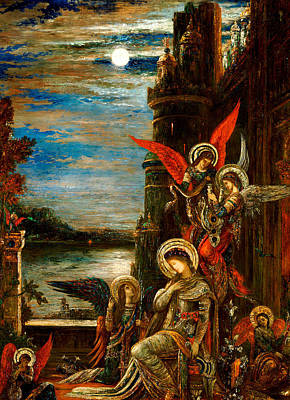 Moreau Painting - St Cecilia The Angels Announcing Her Coming Martyrdom by Gustave Moreau